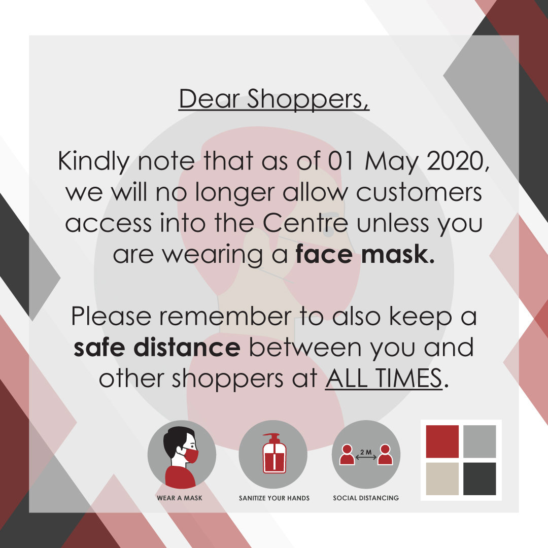 Lansdowne Corner Shopping Centre COVID-19 Update - Face Mask